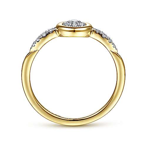 14K Yellow Gold Cluster Diamond and Spiked Accent Ladies Ring