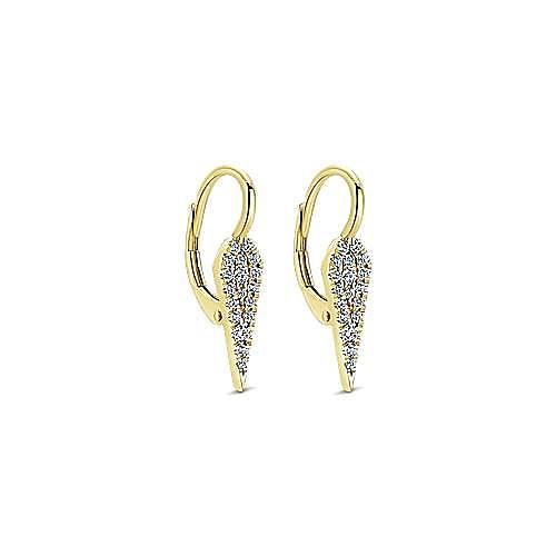 14K Yellow Gold Cluster Kite Leverback Diamond Earrings