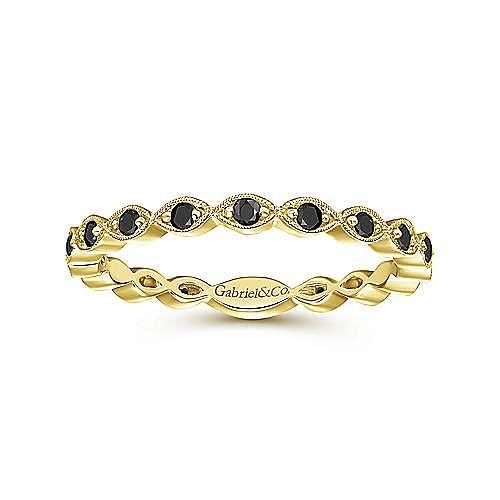 14K Yellow Gold Contoured Marquise Station Black Diamond Ring