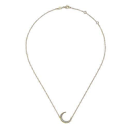 14K Yellow Gold Crescent Moon Diamond Pendant Necklace
