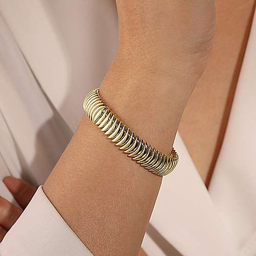 14K Yellow Gold Crescent Moon Open Cuff Bracelet