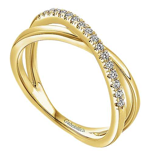 14K Yellow Gold Criss Cross Diamond Ring