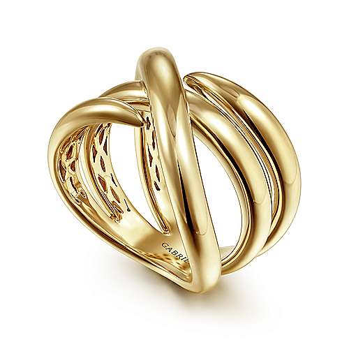 14K Yellow Gold Criss Cross Ring