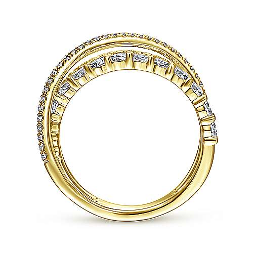 14K Yellow Gold Criss Crossing Layered Diamond Ring