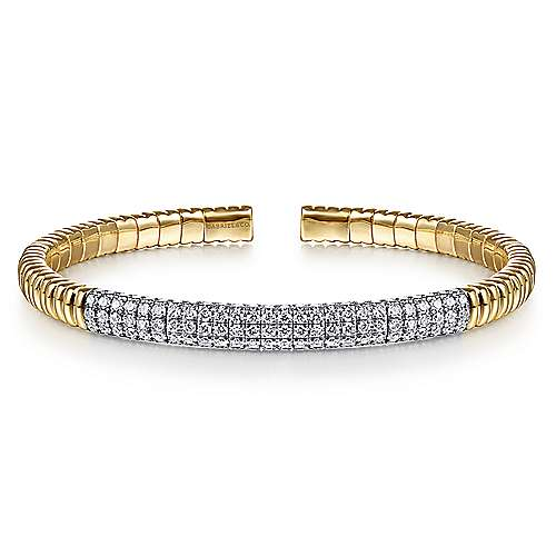 14K Yellow Gold Cuff Bangle with Diamond Pavé Center Station
