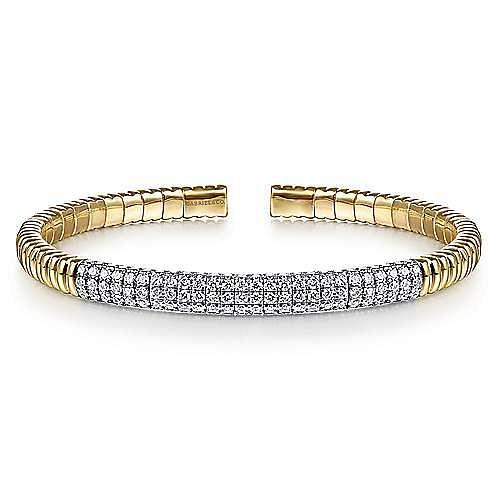 14K Yellow Gold Cuff Bracelet with Diamond Pavé Station