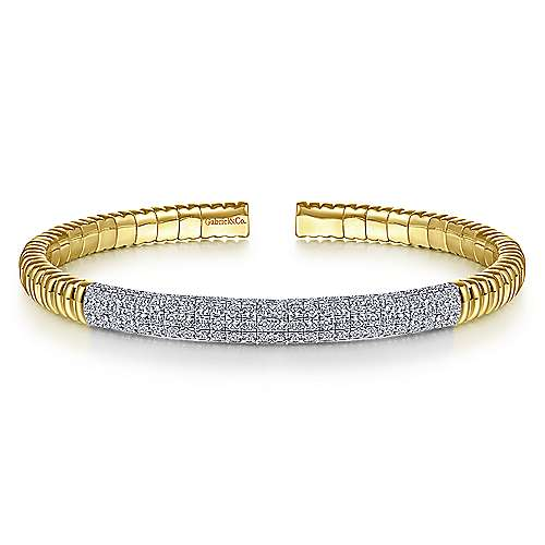 14K Yellow Gold Cuff Bracelet with Diamond Pavé Station