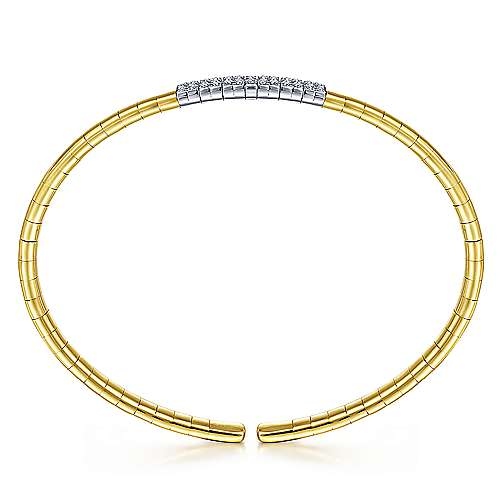 14K Yellow Gold Cuff Bracelet with Pavé Diamond Bar