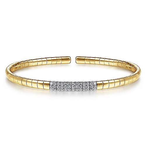14K Yellow Gold Cuff Bracelet with Pavé Diamond Bar