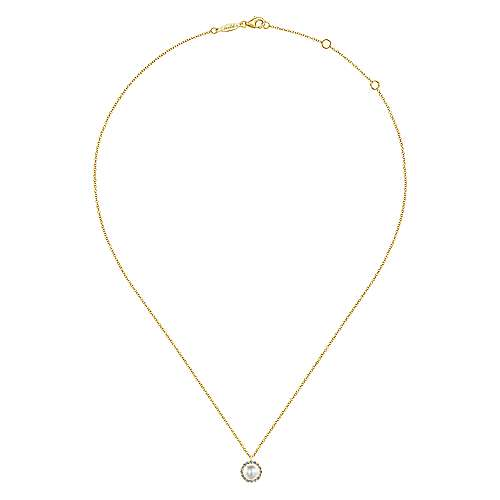 14K Yellow Gold Cultured Pearl and Diamond Halo Pendant Necklace