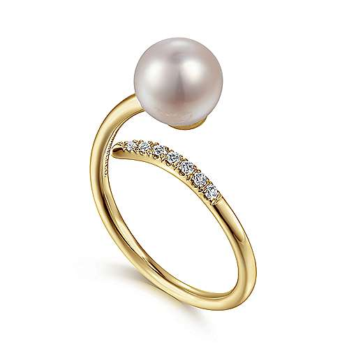 14K Yellow Gold Cultured Pearl and Diamond Open Wrap Ring