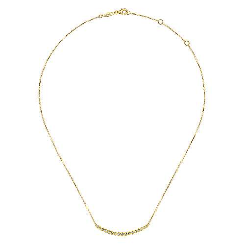 14K Yellow Gold Curved Bar Necklace with Bezel Set Round Diamonds