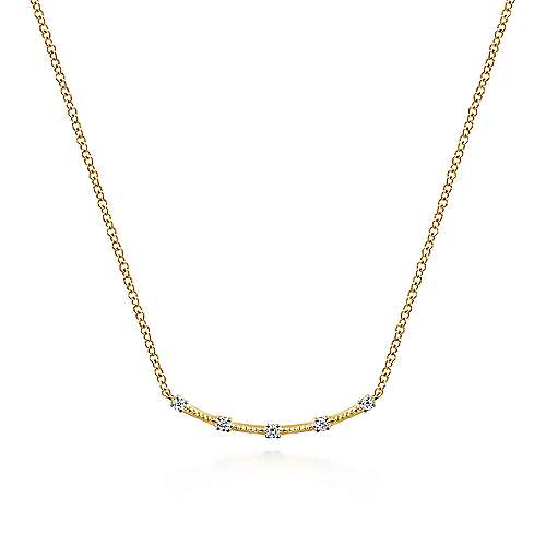 14K Yellow Gold Curved Bar Necklace with Diamond Stations