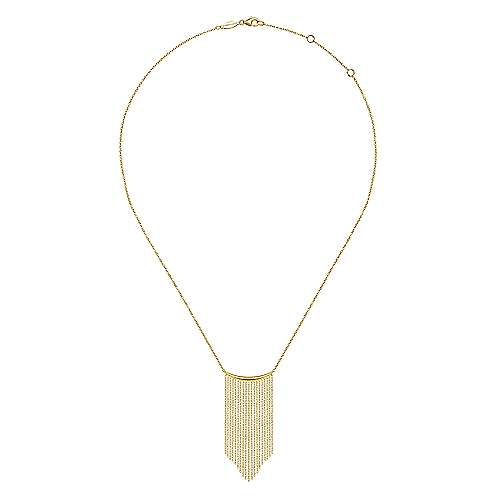 14K Yellow Gold Curved Bar and Waterfall Chain Necklace