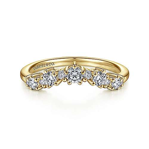 14K Yellow Gold Curved Diamond Anniversary Band