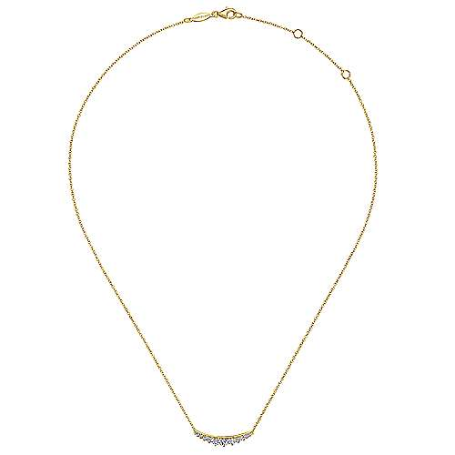 14K Yellow Gold Curved Diamond Bar Necklace