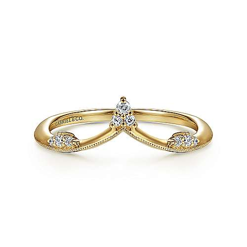 14K Yellow Gold Curved Diamond V Ring