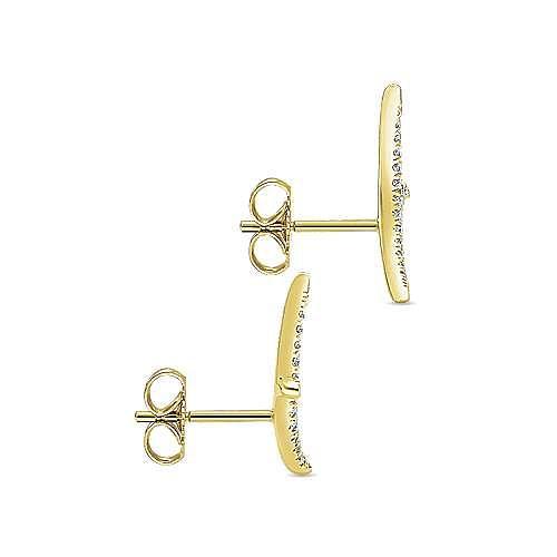 14K Yellow Gold Curved Diamond Vine Stud Earrings