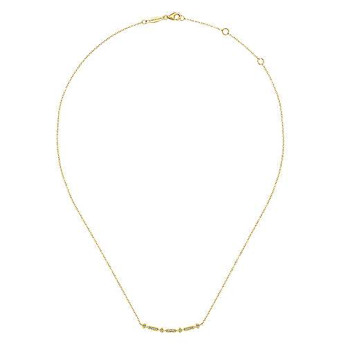 14K Yellow Gold Curved Geometric Diamond Bar Necklace