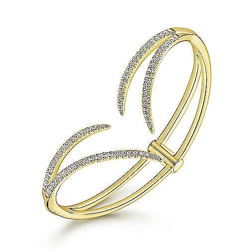 14K Yellow Gold Curved Open Diamond Split Bangle