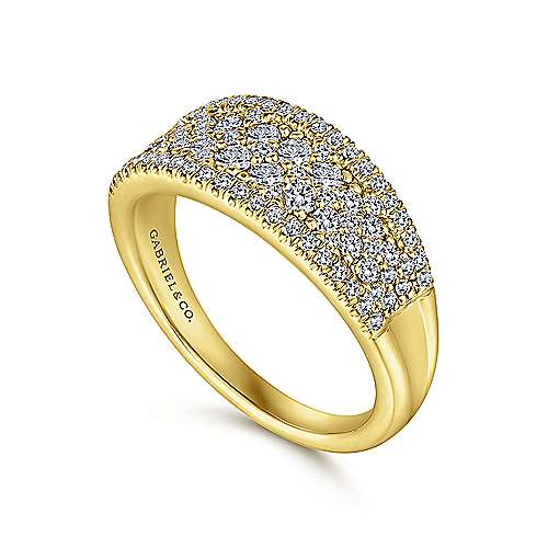 14K Yellow Gold Curved Pavé Diamond Ring