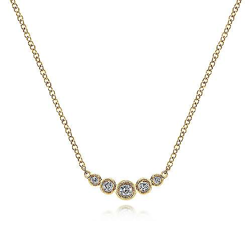 14K Yellow Gold Curved Round Diamond Bar Necklace
