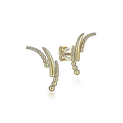 14K Yellow Gold Curving Three Row Bujukan Ball Stud  Earrings