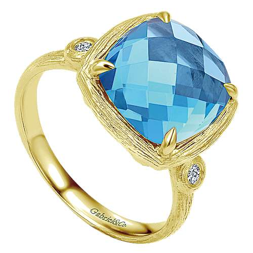 14K Yellow Gold Cushion Cut Blue Topaz Ring with Diamond Accents