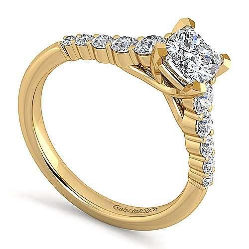 14K Yellow Gold Cushion Cut Diamond Engagement Ring