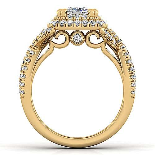 14K Yellow Gold Cushion Cut Diamond Engagement Ring