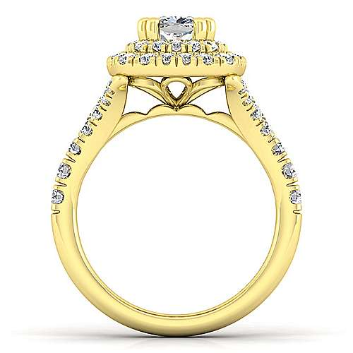 14K Yellow Gold Cushion Cut Double Halo Diamond Engagement Ring