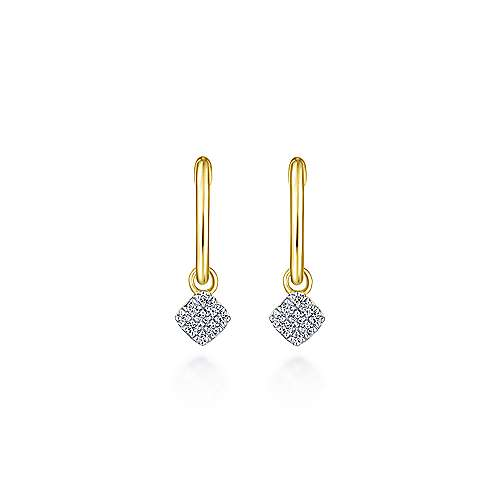14K Yellow Gold Cushion Cut Pavé 10mm Diamond Drop Earrings