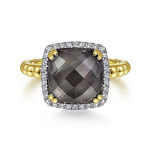 14K Yellow Gold Cushion Cut Rock Crystal/Black Pearl and Diamond Halo Ring