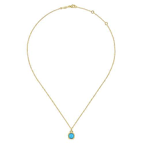 14K Yellow Gold Cushion Cut Rock Crystal/Turquoise and Diamond Pendant Necklace