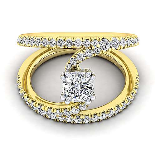 14K Yellow Gold Cushion Cut Split Shank Diamond Engagement Ring