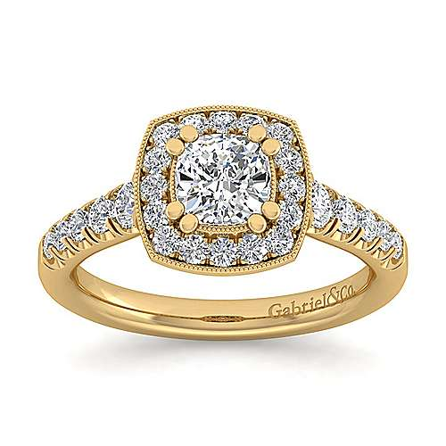 14K Yellow Gold Cushion Halo Diamond Engagement Ring