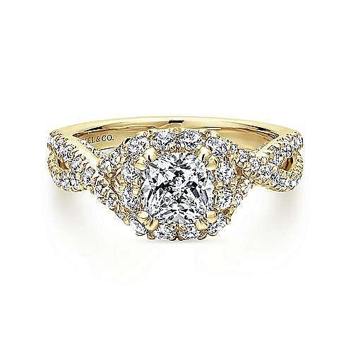 14K Yellow Gold Cushion Halo Diamond Engagement Ring