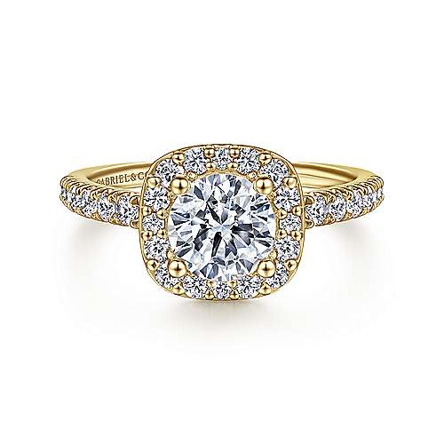 Gabriel - 14K Yellow Gold Cushion Halo Round Diamond Engagement Ring