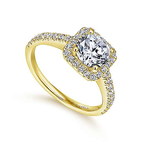 14K Yellow Gold Cushion Halo Round Diamond Engagement Ring