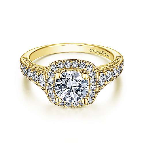 Gabriel - 14K Yellow Gold Cushion Halo Round Diamond Engagement Ring