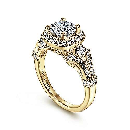 14K Yellow Gold Cushion Halo Round Diamond Engagement Ring