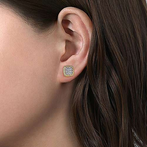 14K Yellow Gold Cushion Shape Pavé Diamond Stud Earrings