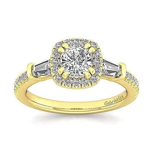 14K Yellow Gold Cushion Three Stone Halo Diamond Engagement Ring