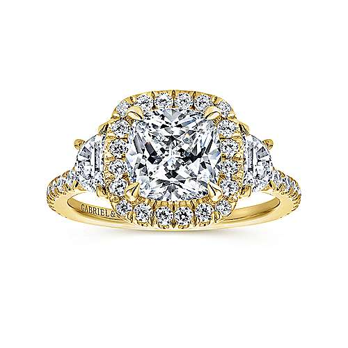 14K Yellow Gold Cushion Three Stone Halo Diamond Engagement Ring