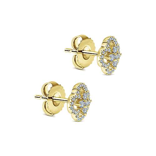 14K Yellow Gold Cutout Clover Diamond Stud Earrings