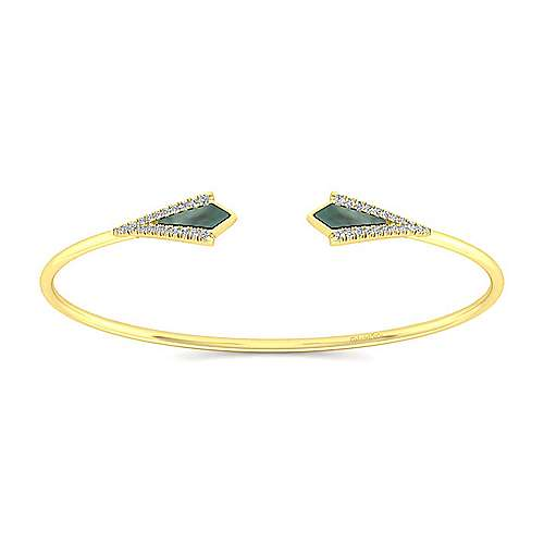 Gabriel - 14K Yellow Gold Diamond & Black Mother of Pearl Bangle