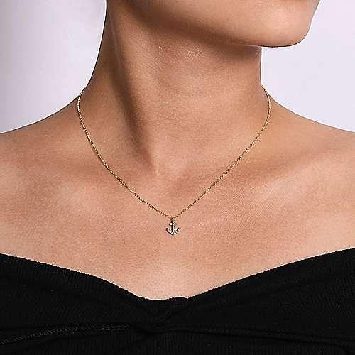 14K Yellow Gold Diamond Anchor Pendant Necklace