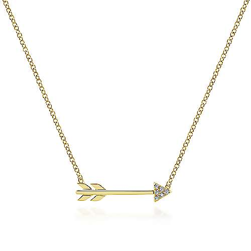 14K Yellow Gold Diamond Arrow Necklace