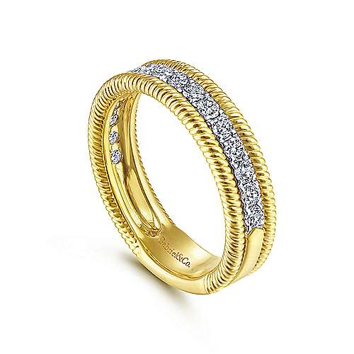 14K Yellow Gold Diamond Band with Twisted Rope Border