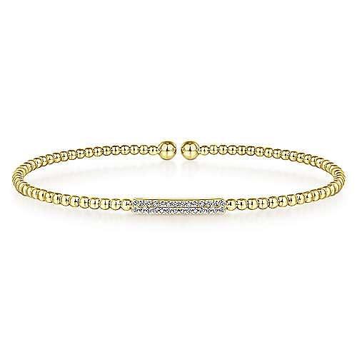 14K Yellow Gold Diamond Bar Bangle